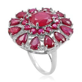 African Ruby (Ovl 3.75 Ct), White Topaz Ring in Rhodium Plated Sterling Silver 14.000 Ct.
