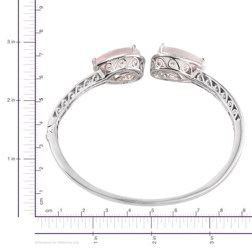 Rose Quartz (Pear), Diamond Bangle (Size 7.5) in ION Plated Platinum Bond 19.030 Ct.