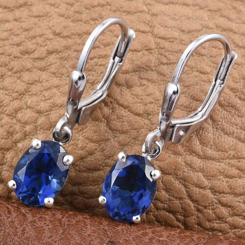 Ceylon Colour Quartz (Ovl) Lever Back Earrings in Platinum Overlay Sterling Silver 3.250 Ct.