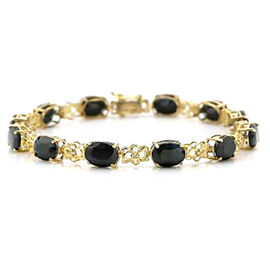 Boi Ploi Black Spinel (Ovl) Bracelet (Size 7.5) in 14K Gold Overlay Sterling Silver 18.000 Ct.