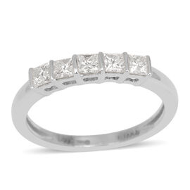 ILIANA 18K W Gold IGI Certified Diamond (Sqr) (SI/ G-H) 5 Stone Ring 0.500 Ct.