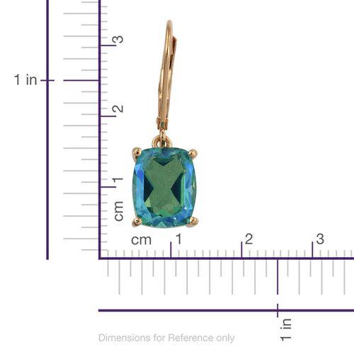 Peacock Quartz (Cush) Lever Back Earrings in 14K Gold Overlay Sterling Silver 3.250 Ct.