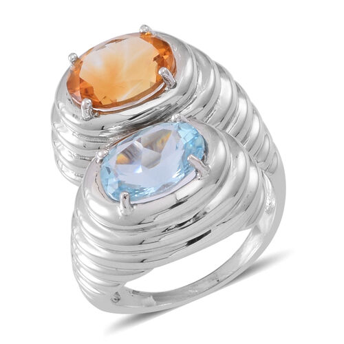 Sky Blue Topaz (Ovl 4.50 Ct), Citrine Crossover Ring in Rhodium Plated Sterling Silver 8.000 Ct.