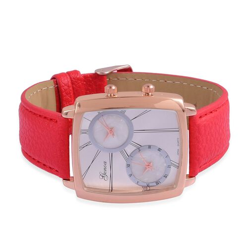 GENOA Japanese Movement Silver Dial Water Resistant Watch in Rose Gold Tone with Stainless Steel Back and Red Colour Strap