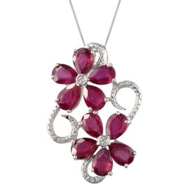 African Ruby (Pear), Diamond Twin Floral Pendant With Chain in Platinum Overlay Sterling Silver 7.510 Ct.