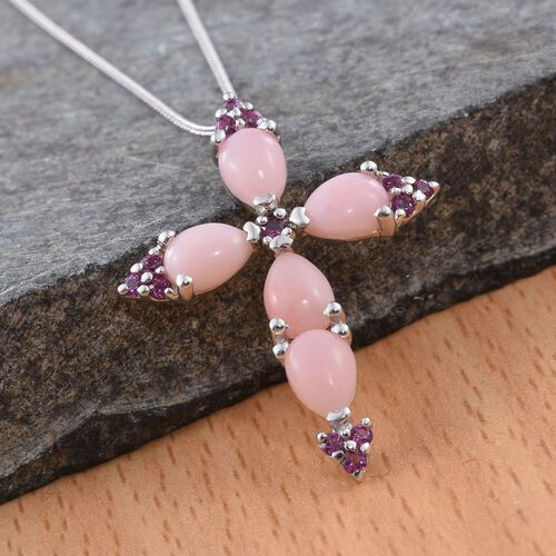 Natural Peruvian Pink Opal (Pear), Rhodolite Garnet Cross Pendant With Chain in Platinum Overlay Sterling Silver 3.500 Ct.