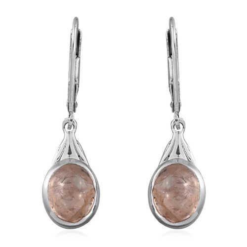 Marropino Morganite (Ovl) Lever Back Earrings in Platinum Overlay Sterling Silver 3.750 Ct.