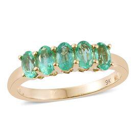 9K Yellow Gold 1.25 Carat AA Boyaca Colombian Emerald 5 Stone Ring