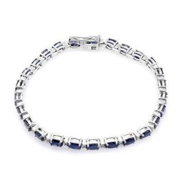 Diffused Blue Sapphire (Ovl), Diamond Bracelet (Size 7.5) in Rhodium Plated Sterling Silver 18.000 Ct.