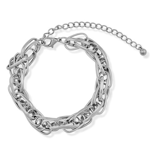 Prince of Wales Bracelet (Size 7 with Extender) in Silver Tone