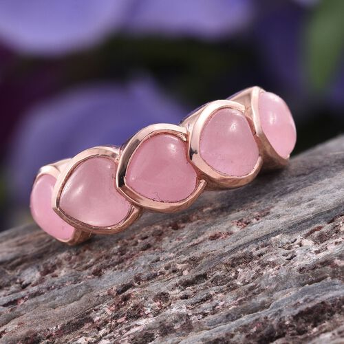 Pink Jade Hrt 5 Stone Ring In Rose Gold Overlay Sterling