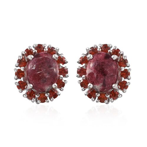 Norwegian Thulite (Ovl), Red Sapphire Stud Earrings in Platinum Overlay Sterling Silver 9.000 Ct.