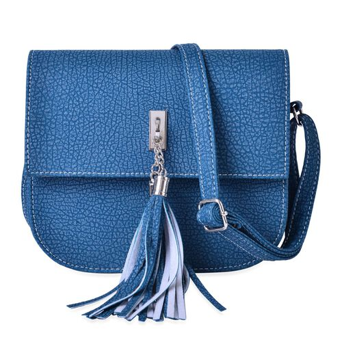 Blue Colour Crossbody Bag with Adjustable Shoulder Strap with Tassels (Size 20x18x6.6 Cm)