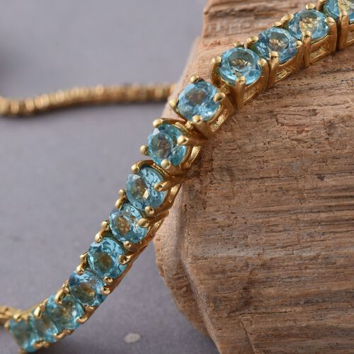 Paraiba Apatite (Rnd) Adjustable Bracelet (Size 6.5 to 8) in 14K Gold Overlay Sterling Silver 2.750 Ct.