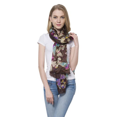 100% Mulberry Silk Dark Rainbow Colour Butterfly Pattern Coffee Colour Scarf (Size 170x110 Cm)