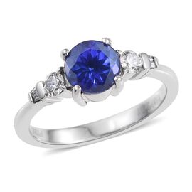 RHAPSODY 950 Platinum AAAA Tanzanite (Rnd 1.65 Ct), Diamond (VS E-F) Ring 1.850 Ct.
