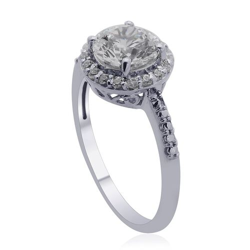 J Francis - Platinum Overlay Sterling Silver (Rnd) Ring Made with SWAROVSKI ZIRCONIA 2.310 Ct.