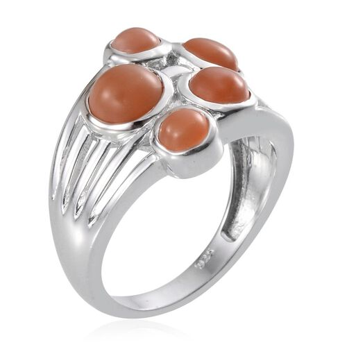 Mitiyagoda Peach Moonstone (Rnd 1.00 Ct), 5 Stone Ring in Platinum Overlay Sterling Silver 2.750 Ct
