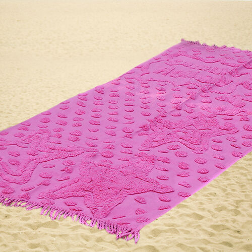 100% Cotton Tufted Summer Holiday Pink Beach Blanket with Fringes on Both Ends (Size 175x80 Cm)