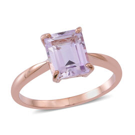 Rose De France Amethyst (Oct) Solitaire Ring in Rose Gold Overlay Sterling Silver 3.000 Ct.