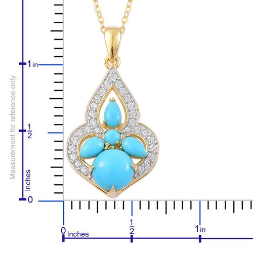 Arizona Sleeping Beauty Turquoise (Rnd), White Zircon Pendant With Chain in Yellow Gold Overlay Sterling Silver 1.650 Ct.