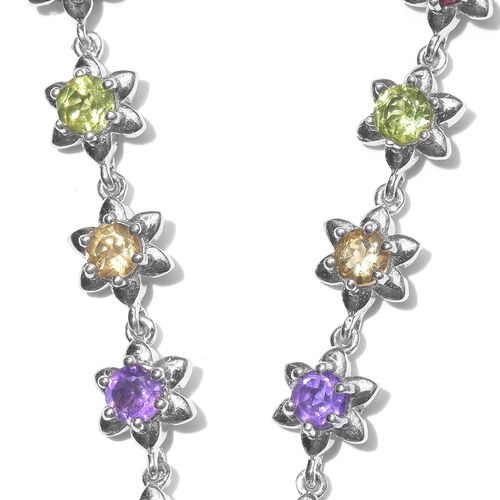 Rose De France Amethyst (Pear 7.55 Ct), Rhodolite Garnet, Hebei Peridot, Amethyst and Citrine Necklace (Size 18) in Platinum Overlay Sterling Silver 14.500 Ct.