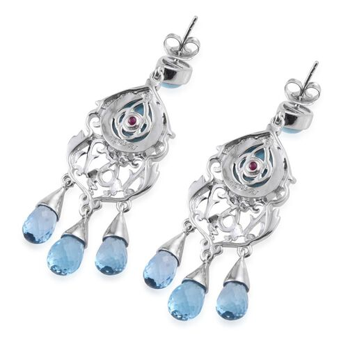 Royal Jaipur Larimar (Pear), Electric Swiss Blue Topaz and Burmese Ruby Chandelier Earrings (with Push Back) in Platinum Overlay Sterling Silver 30.000 Ct.