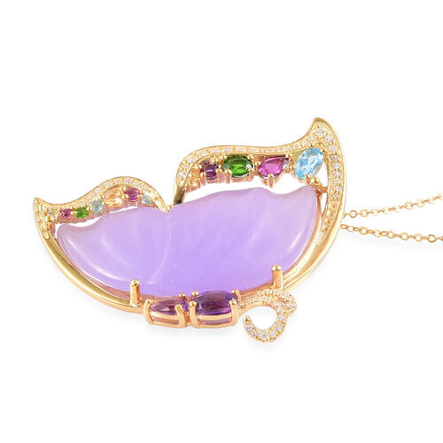 Lavender Jade, Amethyst, Swiss Blue Topaz, Rhodolite Garnet and Multi Gemstone Butterfly Pendant With Chain in Yellow Gold Overlay Sterling Silver 29.630 Ct.