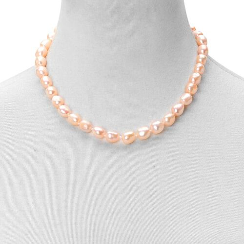 Double Shine Fresh Water Peach Pearl (10-11mm) Necklace (Size 18 with 2 inch Extender) in Rhodium Plated Sterling Silver