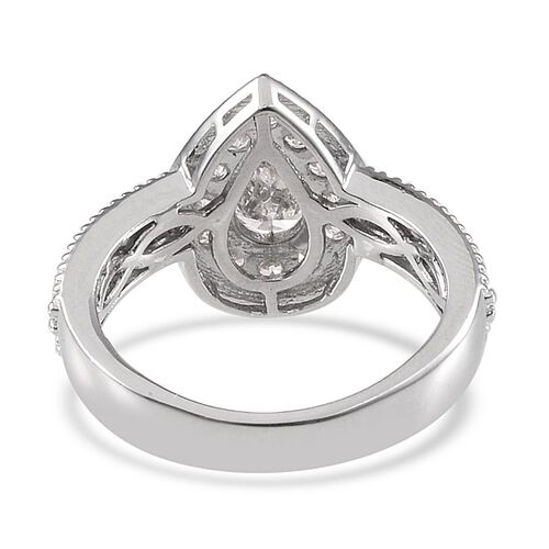 J Francis - Platinum Overlay Sterling Silver (Pear) Ring Made with SWAROVSKI ZIRCONIA 1.470 Ct.