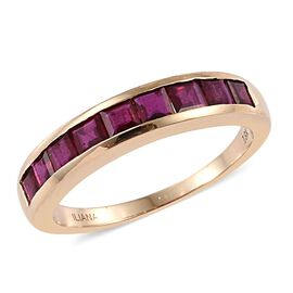 ILIANA 18K Yellow Gold 1.50 Carat Pigeon Blood AAA Burmese Ruby Half Eternity Band Ring