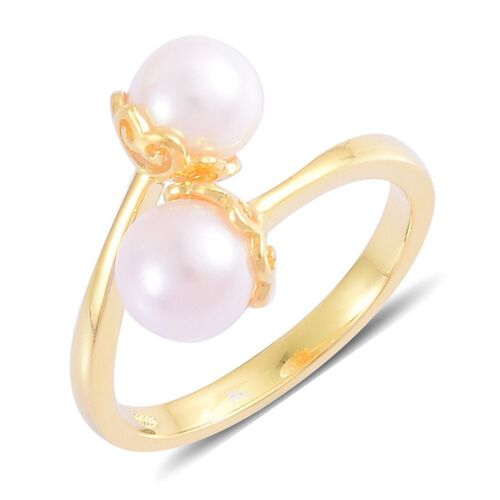 Japanese Akoya Pearl (Rnd) Crossover Ring in Yellow Gold Overlay Sterling Silver 4.500 Ct.