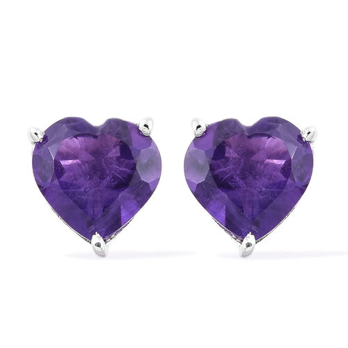 Amethyst 2 Carat Silver Heart Stud Earrings in Platinum Overlay