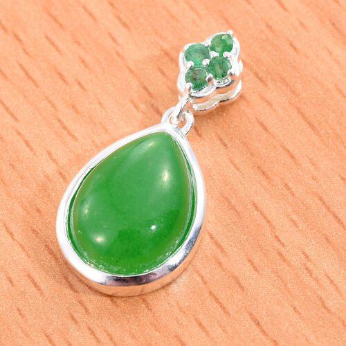 Green Jade (Pear 6.85 Ct), Kagem Zambian Emerald Pendant in Sterling Silver 7.000 Ct.
