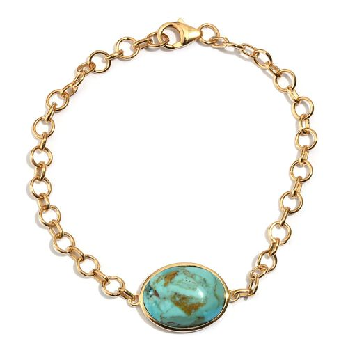 Arizona Matrix Turquoise (Ovl) Bracelet (Size 7.5) in 14K Gold Overlay Sterling Silver 9.250 Ct.