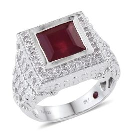 Royal Jaipur African Ruby (Sqr 7.25 Ct), Burmese Ruby and Natural Cambodian Zircon Ring in Platinum Overlay Sterling Silver 8.000 Ct.