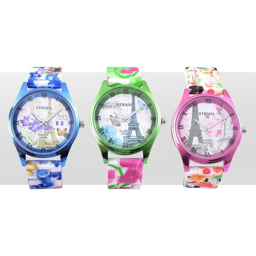 Set of 3 - STRADA Japanese Movement Purple, Blue, Green and Multi Colour Eiffel Tower and Floral Pattern Watch in Silver Tone with Stainless Steel Back
