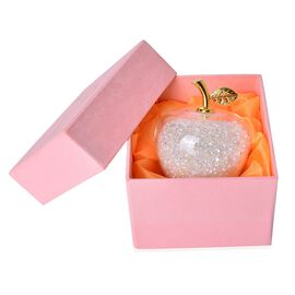 Exclusive Edition- Hand Crafted White Enchanted Apple Facted Ornament presented in a Velvet Lined Gift Box
