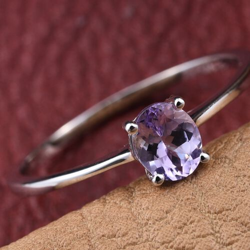 14K W Gold Rare Natural Pink Tanzanite (Ovl) Solitaire Ring 0.500 Ct.