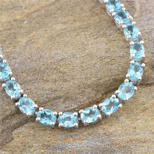 Paraibe Apatite (Ovl) Necklace (Size 18) in Platinum Overlay Sterling Silver 30.000 Ct.