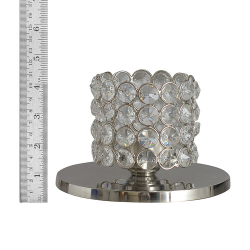 Home Decor - Austrian Crystal Oval Shaped T Light Holder with LED T Light and Metallic Base