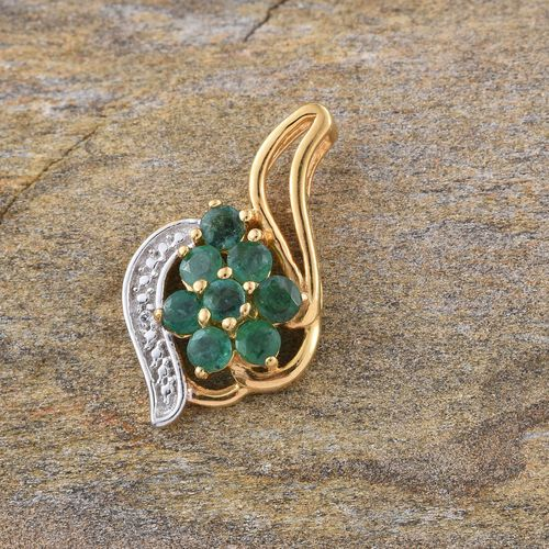 Brazilian Emerald (Rnd), Natural Cambodian Zircon Pendant in 14K Gold Overlay Sterling Silver 0.900 Ct.