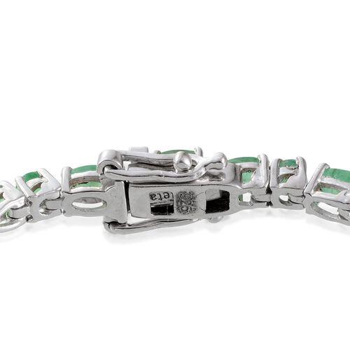 Kagem Zambian Emerald (Ovl) Bracelet in Platinum Overlay Sterling Silver (Size 8) 7.000 Ct.