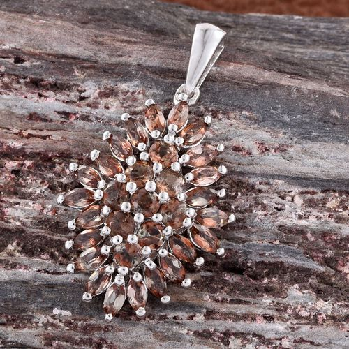 Brazilian Andalusite (Rnd) Cluster Pendant in Platinum Overlay Sterling Silver 3.000 Ct.