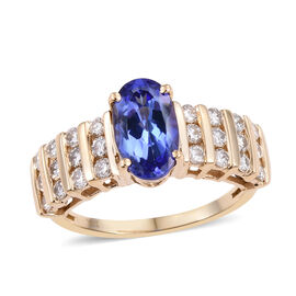 14K Y Gold AA Tanzanite (Ovl 1.90 Ct), Diamond (I2/G-H) Ring 2.650 Ct.