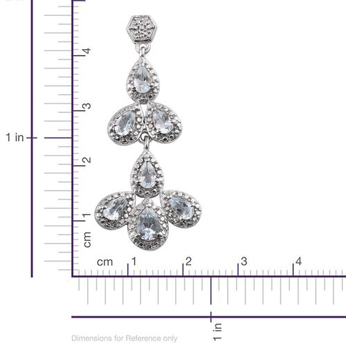 Espirito Santo Aquamarine (Pear), Diamond Earrings in Platinum Overlay Sterling Silver 2.780 Ct.