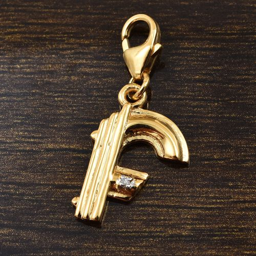 Diamond (Rnd) Initial F Charm in 14K Gold Overlay Sterling Silver