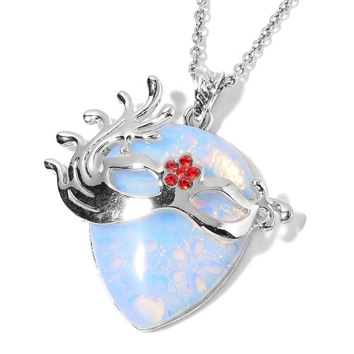 Opalite, Red Austrian Crystal Mask Pendant With Chain (Size 32) in Silver Tone 25.500 Ct.