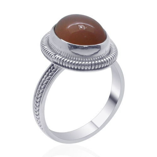 Royal Bali Collection Mitiyagoda Peach Moonstone (Ovl) Solitaire Ring in Sterling Silver 5.590 Ct.