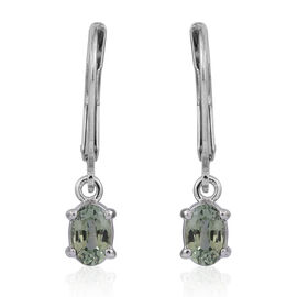 Green Sapphire (Ovl) Lever Back Earrings in Rhodium Plated Sterling Silver 1.250 Ct.
